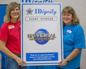 A photo of IDignity's volunteer from the sponsor of the March event, Universal Orlando Resort