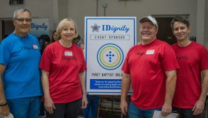 A photo of IDignity's volunteers from the sponsor of the march event, First Baptist Orlando.