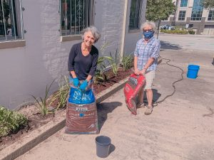 volunteers planting new greenery in the planter at Jackie's Place